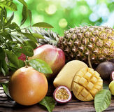 Exotiska frukter på en trätabell. Arkivfoto