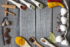 Exotiska kryddor och tomma grungebräden Arkivfoton
