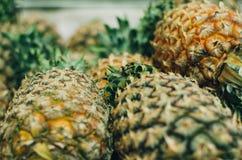 Exotiska tropiska frukter, ananors bär frukt skärm i den nya marknaden Fotografering för Bildbyråer