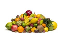 Exotiska tropiska frukter på vit Royaltyfria Bilder