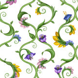 Seamless naturligt utsmyckat blom- mönstrar bakgrund vektor illustrationer