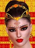 Exotiskt kvinnas framsidaslut upp, indier, asiat eller mitt - östligt skönhetbegrepp Royaltyfri Fotografi