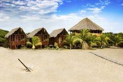 Exotiskt strandhus på stranden i Nicaragua, CA Arkivfoto