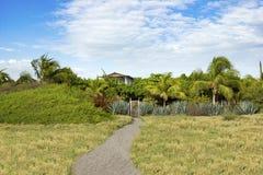 Exotiskt strandhus på stranden i Nicaragua, CA Arkivbild