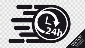 Expédiez le concept plat de service de la livraison 24h d'icône - illustration de vecteur - d'isolement sur le fond transparent illustration libre de droits