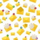 Expédiez les avis d'enveloppe, modèle sans couture de fond de communication de message Photos stock