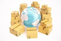 Expédition de boîte en carton et concept mondial d'affaires de la livraison, globe de planète de la terre rendu 3d Éléments de ce Photos stock