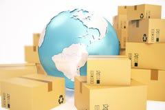 Expédition de boîte en carton et concept mondial d'affaires de la livraison, globe de planète de la terre rendu 3d Éléments de ce Photographie stock libre de droits