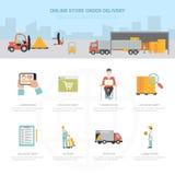 Expédition en ligne d'infographics de la livraison d'ordre de magasin illustration de vecteur