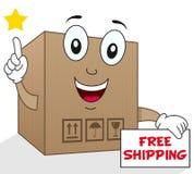 Expédition gratuite de boîte en carton d'expédition Photographie stock libre de droits