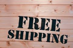 Expédition libre Mot gratuit d'expédition sur la boîte en bois de transport Paquet gratuit d'expédition Images libres de droits