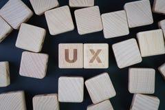 Expérience d'utilisateur, conception d'UX, essai de facilité d'utilisation ou concept de recherches, vue étendue ou supérieure pl photographie stock libre de droits