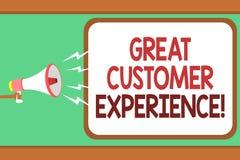 Expérience de client des textes d'écriture de Word une grande Concept d'affaires pour répondre aux clients avec l'homme utile ami Image libre de droits