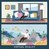 Expérience de réalité virtuelle Images stock