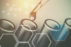 expériences scientifiques, équipement de laboratoire et concept de la science de tubes à essai images stock