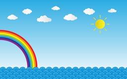 expõe ao sol o brilho no céu azul com nuvens e arco-íris sobre o mar, vetor IL Foto de Stock Royalty Free
