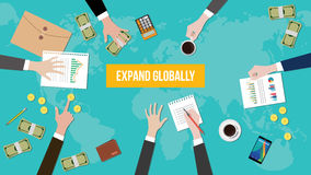 Expand globally concept discussion illustration with paperworks, money and folder document on top of table. Vector royalty free illustration