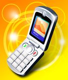 Expand mobile phone. Over yellow stock illustration