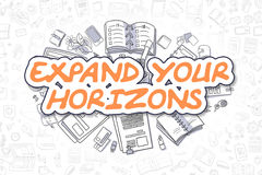 Expand Your Horizons - Doodle Orange Word. Business Concept. Royalty Free Stock Images