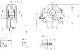 Expanded bearing sketch with different elements. Expanded sketch of bearing with different elements and hatching. Engineering drawing with lines, angle degrees Stock Photos