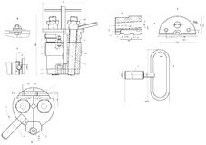 Expanded drawing of engineering elements Stock Images