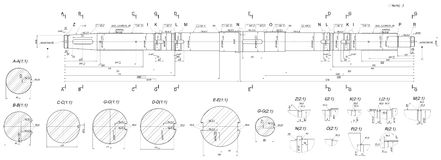 Expanded shaft sketch with hatching sections Royalty Free Stock Image