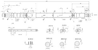 Expanded shaft sketch with layout keyways Royalty Free Stock Images