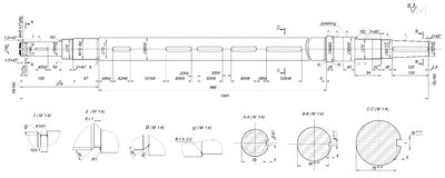 Expanded shaft sketch with radius and polishing Royalty Free Stock Photos