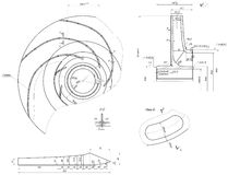Expanded sketch of engineering wheel with blades Royalty Free Stock Image