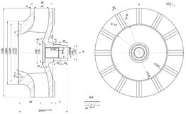 Expanded wheel sketch with span Royalty Free Stock Image