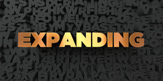 Expanding - Gold text on black background - 3D rendered royalty free stock picture. This image can be used for an online website banner ad or a print postcard Royalty Free Stock Photos