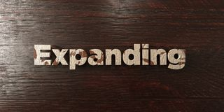 Expanding - grungy wooden headline on Maple  - 3D rendered royalty free stock image. This image can be used for an online website banner ad or a print postcard Royalty Free Stock Photo