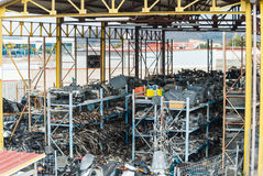 Expanse of cars in demolition. Ready for recycling or destruction Royalty Free Stock Images