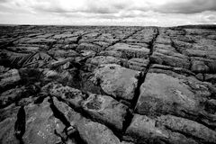 Expanse of Cracked Rocks - The Burren in Ireland. A desaturated look at the grey wasteland of The Burren in Ireland, an area swept clean of life due to strong Stock Photo