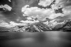 Expanse of Lake Iskander-Kul. Tajikistan. Black and white Stock Photo