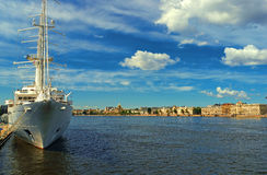 Expanse of the river Malaya Neva in St. Petersburg royalty free stock photo