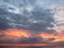 Expanse of the sea against the sunset sky. Stock Photography
