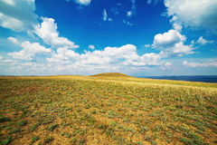 Expanse of steppe. Unique Volgog-Don steppe, not podaleku from Suvodskaya station. View from the Alexander grabens. Volgograd region, Russia, May 4, 2015 Royalty Free Stock Image