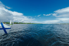 Expanse of water reservoirs, beautiful cloud Royalty Free Stock Image