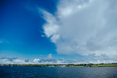 Expanse of water reservoirs, beautiful cloud Royalty Free Stock Images