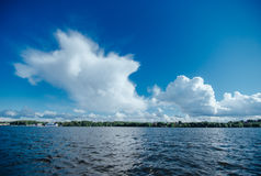 Expanse of water reservoirs, beautiful cloud Stock Photo