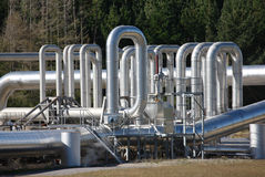 Expansion Bends. On insulated steam pipework at a geothermal power station, New Zealand Royalty Free Stock Photo