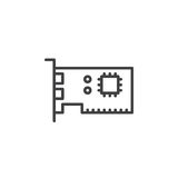 Expansion card line icon, outline vector sign, linear pictogram isolated on white. Royalty Free Stock Photo