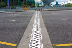 Expansion joint. Sawtooth expansion joint on a modern bridge Stock Photography