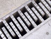 Expansion joints. Steel construction of bridge with expansion joints Stock Photo