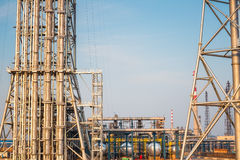 Expansion of the petrochemical plant closeup. Industrial landscape Stock Photography