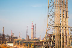 Expansion of the petrochemical plant closeup. Industrial landscape Stock Image