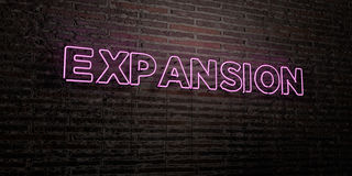 EXPANSION -Realistic Neon Sign on Brick Wall background - 3D rendered royalty free stock image Royalty Free Stock Photos