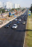 Expansion of a road, Moscow, Krilatskoe. Moscow. Rubliovskoe shosse.traffic jam. Expansion of a road  and building of platform construction Royalty Free Stock Photos