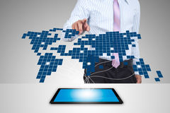 Expansion on the tablet. Business with Expansion on the tablet Royalty Free Stock Photo